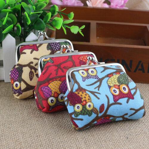 Womens Girls Mini Handbag Wallet Retro Small Purse Cartoon Owl Clip Clutch Pouch