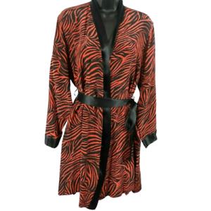 NWT-Linda-Hartman-Intimates-100-Silk-Black-amp-Red-Short-Long-Sleeve-Robe-Size-M
