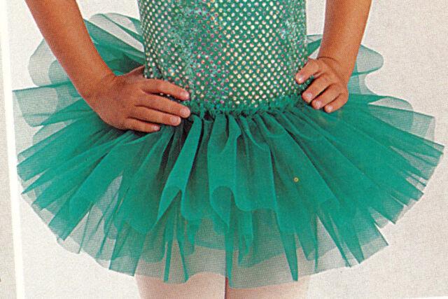 NWT Organdy 3 Layer Tutu Ballet Girls/ladies Jade Green Bando Tutu Organdy #4905