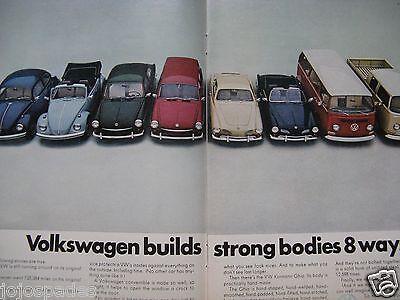 "1968 Volkswagen Ad 8.5 x 10.5""-Bus-Bug-Truck Van-Ghia-Original Print Ad"