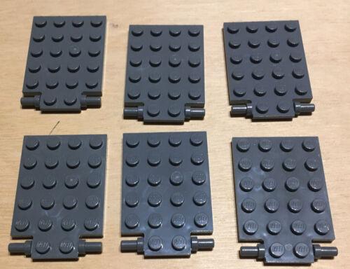 6 X Lego 92099 Plate Modified 4x6 With Trap Door Hinge Dark Bluish grey