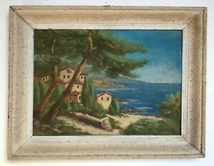 Tableau ancien signé, Huile sur panneau, Côte méditerranéenne, Marine Milieu XXe