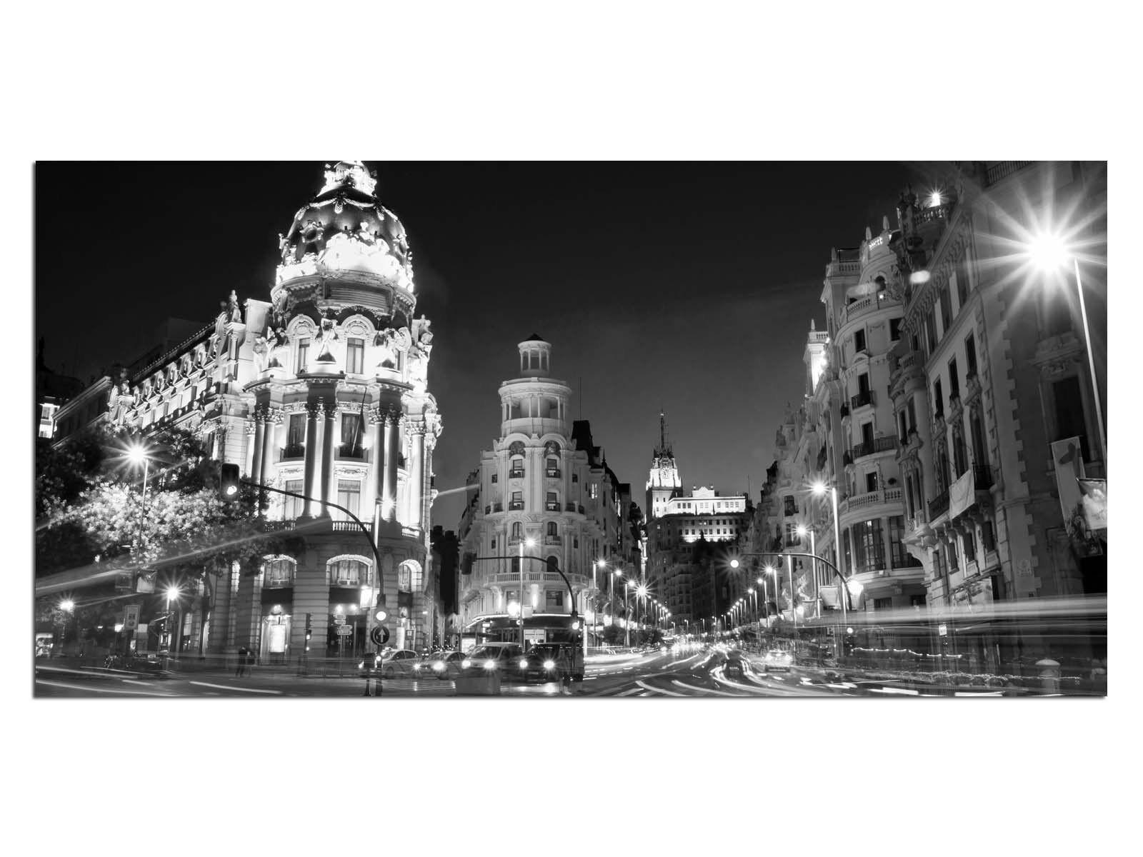 Deco Glas Bild EG4100501016 MADRID SPAIN b w Größe 39,37  x 19,68  HD Drucken C
