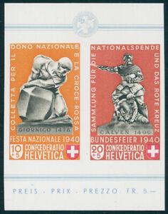 SCHWEIZ-1940-MiNr-370-371-aus-Block-5-tadellos-postfrisch-Mi-260