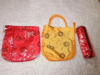 2 Kleine Taschen / Beutel Und 1 Stifte Tasche, Asia / Asien Look Neu!!! SchöNer Auftritt