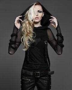 Punk-Rave-evestus-Sudadera-Con-Capucha-Mujer-Malla-Negra-Gotico