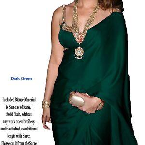Bien Magnifique Élégant Satin Georgette Silk Sari Saree + Chemisier Matière Vert Foncé-afficher Le Titre D'origine La RéPutation D'Abord