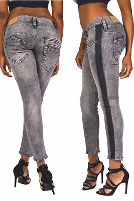 Herrlicher Jeans PITCH SLIM Cropped 5341 OPEN UP Blue Stripe 7//8 Skinny W30 W31