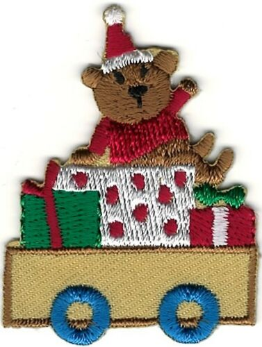 "1 1//2/"" x 1 7//8/"" Christmas Santa Bear Presents on Wagon Embroidery Patch"