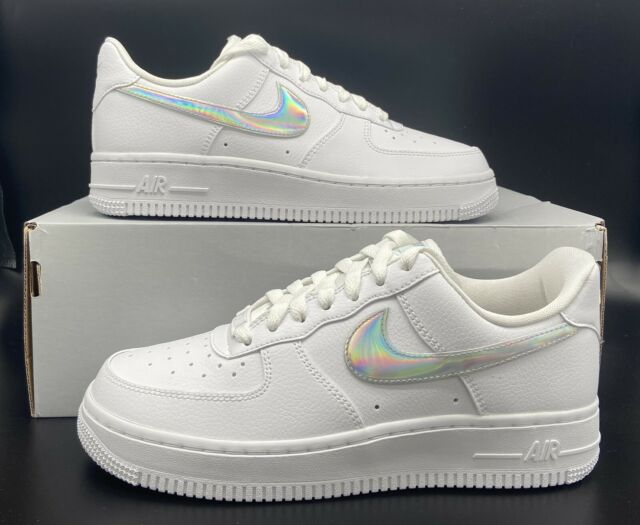 Nike Air Force 1 '07 Retro Low White Iridescent Swoosh Women's Size  (CJ1646-100)