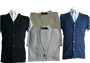 Mens-Sleeveless-Button-Cardigan-Sweater-Jumper-waistcoat-Tank-top-V-neck-S-5XL