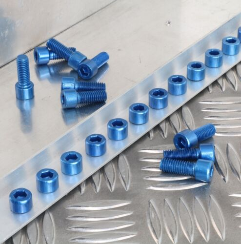 M8 x 20mm Bolts Industrial Finish Blue Anodised Aluminium Patina Special effects