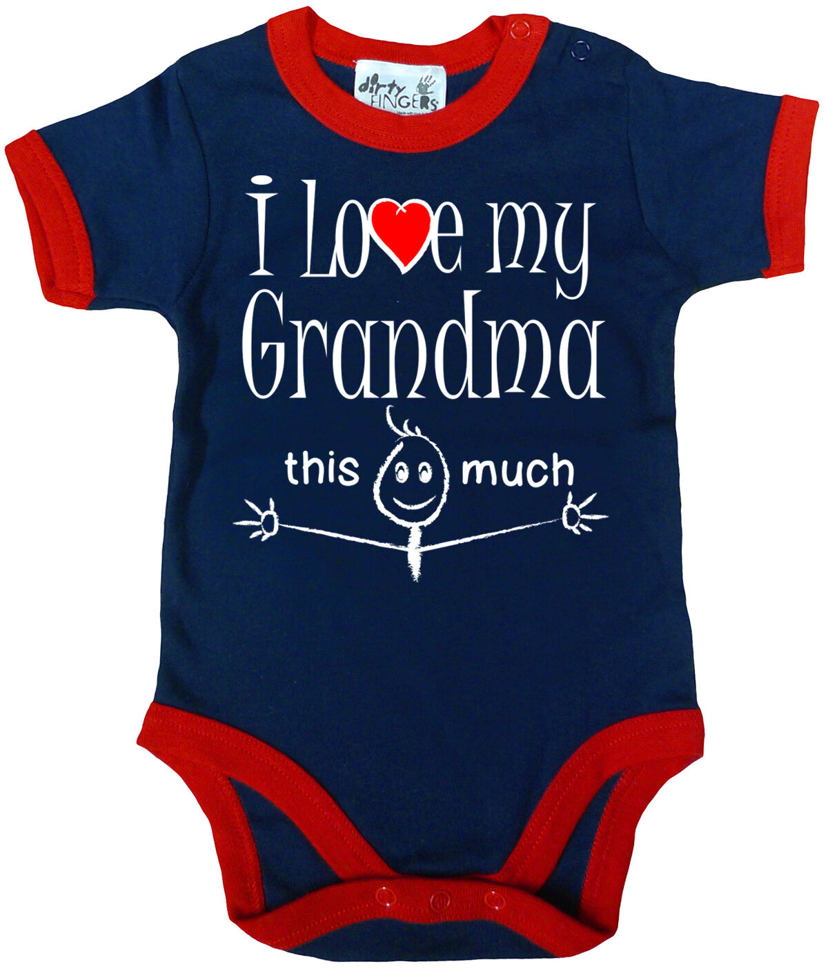 """Funny Baby Bodysuit /""""I Love My Grandma this Much/"""" Trimmed Babygrow Granny Gift"""