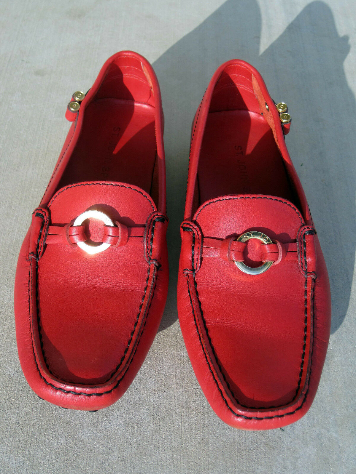 NEW ST. JOHN JOHN JOHN SPORT RED SHOES LEATHER DRIVING MOC CASUAL LOAFER 7M ITALY c2588f