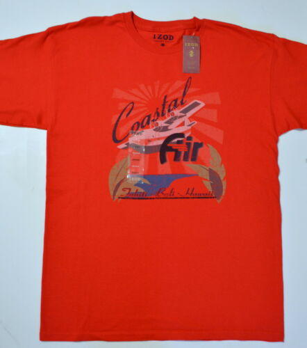 "IZOD Luxury Sport Men Short Sleeve Bahama Red Cotton Knit /""Coastal Air/"" T Shirt"