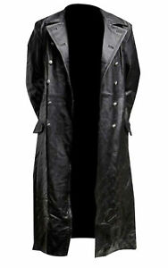 MEN/'S GERMAN CLASSIC WW2 MILITARY OFFICER UNIFORM BLACK LEATHER TRENCH COAT