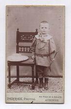 PHOTO ANCIENNE CDV Enfant Garçon Perrez Perret Auxonne Vers 1900 Canne
