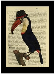 Hipster Skull Beard Trilby Vintage Dictionary Art Cool Print Picture Barbers