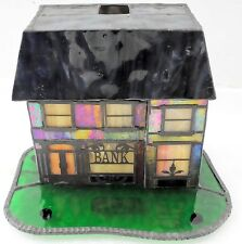 Vintage C. Dale Tiffany Inc. Stained Glass Bank Portable Lamp