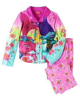 Camicia da Notte Senza Maniche Lunga Prodotto Originale con Licenza Ufficiale Cotone Bambina DreamWorks Trolls 2