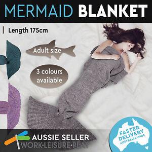 Mermaid Tail Blanket Knitted Crochet Sleeping Bag Soft Plush Adult Teen 175cm