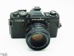 SET-Minolta-SLR-Kamera-XG2-black-Objektiv-MD-Rokkor-1-7-50mm-lens-55