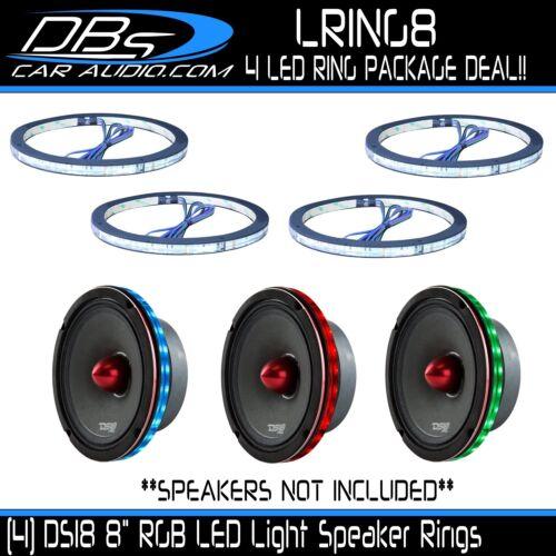 "4 DS18 8/"" Universal RGB LED Clear Plastic Plexiglass Speaker Rings 1//2/"" Spacer"