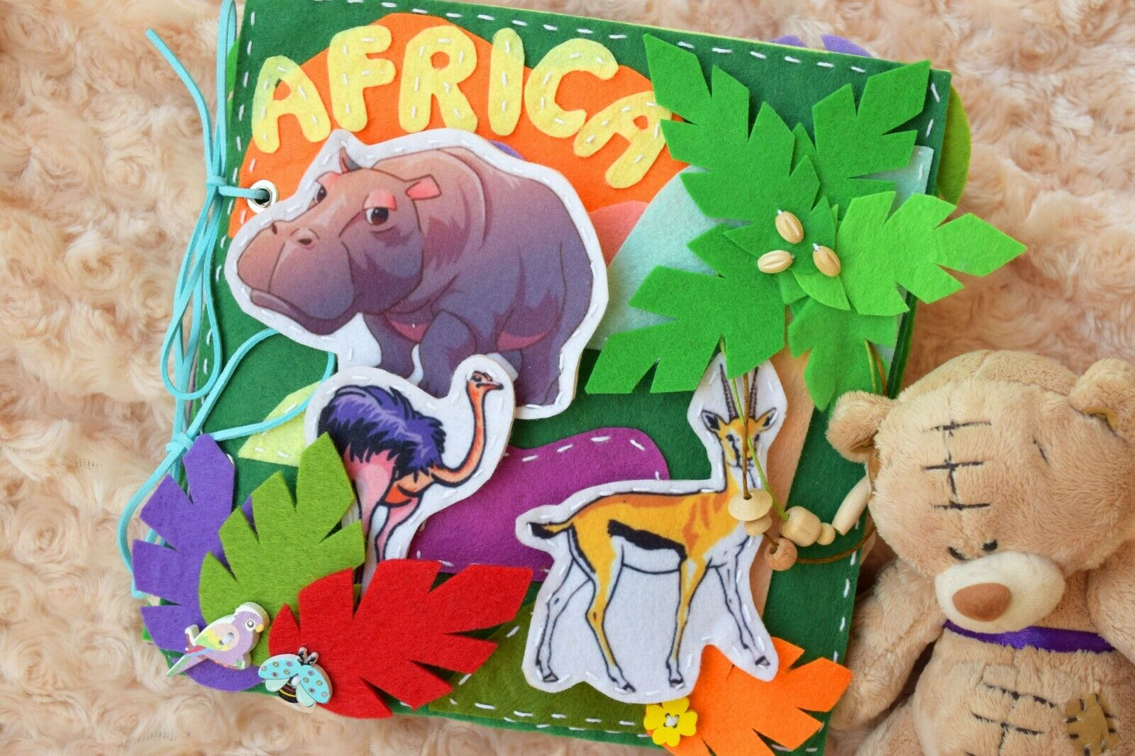 Africa Quiet Busy Felt Book for Kids Toddler Activity Educational Animal Baby