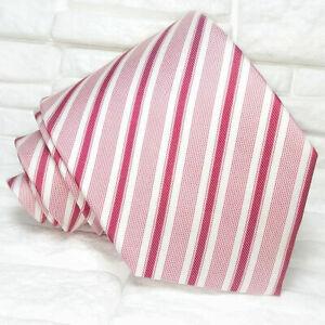 Necktie-men-Striped-red-amp-white-tie-New-100-silk-Made-in-Italy-Morgana-brand
