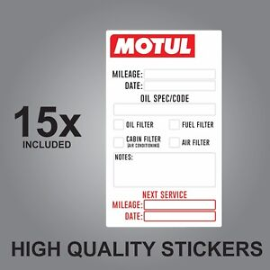 Details About 15x Motul Oil Change Service Reminder Quality Printed Stickers Adhesive Labels