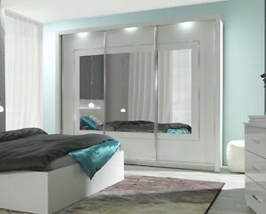 kleiderschrank hochglanz weiss panarea 200 cm mit led und spiegel neu ebay. Black Bedroom Furniture Sets. Home Design Ideas