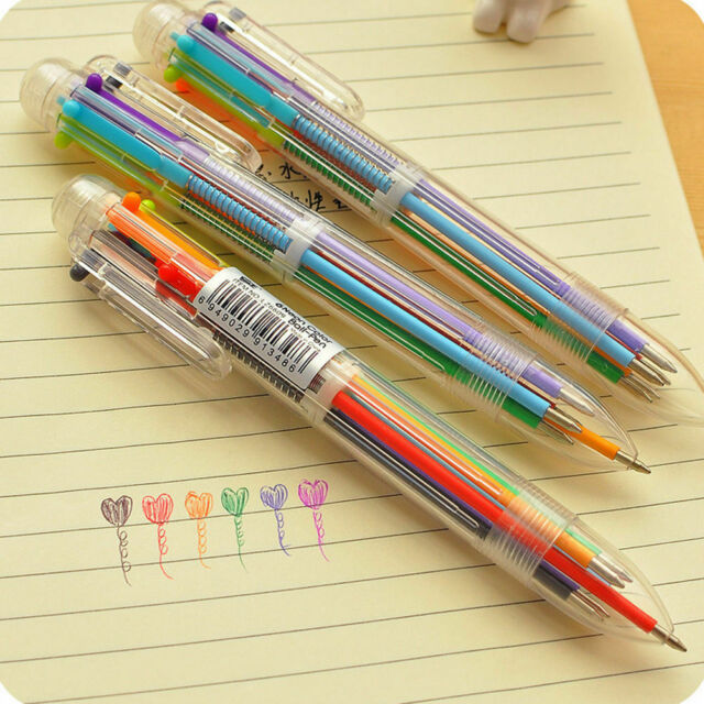 Multi-color 6in1 Color Ballpoint Pen Ball Point Pens Kids School Office Supply Y