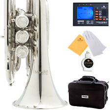 NEW NICKEL PLATED BRASS MINI/ POCKET Bb TRUMPET+TUNER