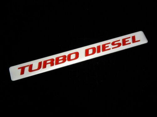 2 TURBODIESEL TURBO DIESEL ENGINE FENDER HOOD EMBLEMS BADGE SILVER RED PAIR