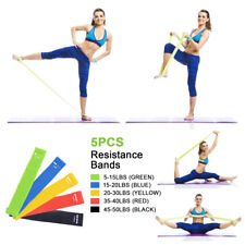 5Pc Workout Resistance Bands Loop CrossFit Fitness Yoga Booty Leg Exercise Band^