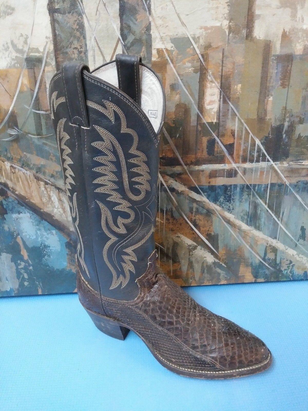 Justin Dark braun Exotic Leather Cowboy Stiefel - US Größe 6.5 D (Mens) Style 6508