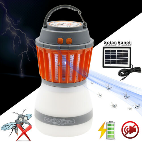 Portable Electric Bug Mosquito Killer Solar LED Camping Tent Lantern Zapper Lamp