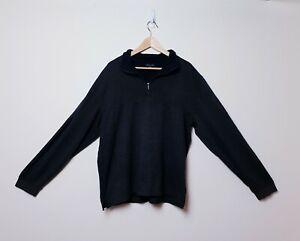 Van-Heusen-Mens-Size-2XL-XXL-Black-Grey-Striped-1-4-Zip-Pullover-Sweater-Jumper
