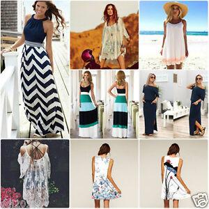 Women-039-s-Summer-Boho-Sleeveless-Long-Maxi-Evening-Party-Beach-Short-SunDress-Sexy