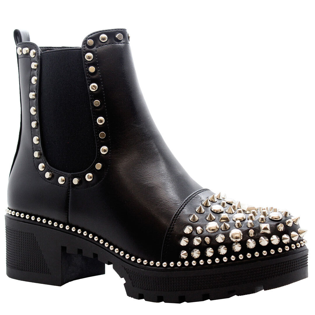 Ladies Studded Ankle Lace Up Boots