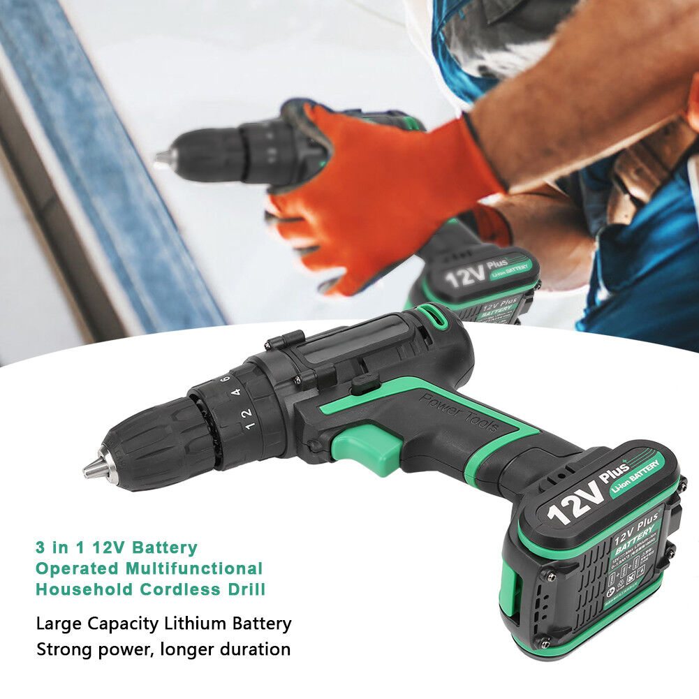 25V Rechargeable Mini Cordless Electric Screwdriver Hammer Drill Tool US UK EU