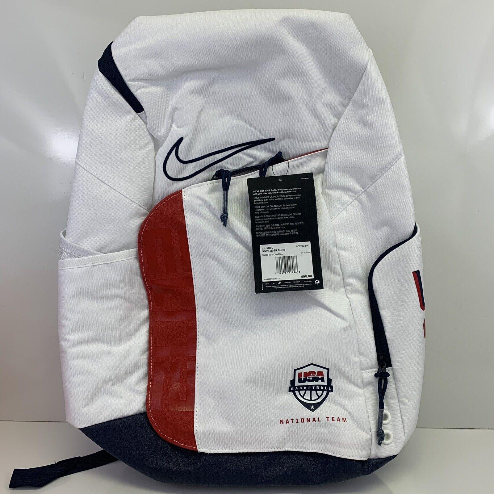 Nike Team USA Elite Pro Olympic 2020 Basketball Backpack White CQ7282-100 One Sz
