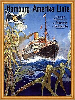 Hamburg Amerika Linie Postdampferlinie Centralamerika Plakate A2 290 Gerahmt