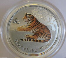 2010 Australian Lunar series Silver 2 Oz Tiger Colored Coin