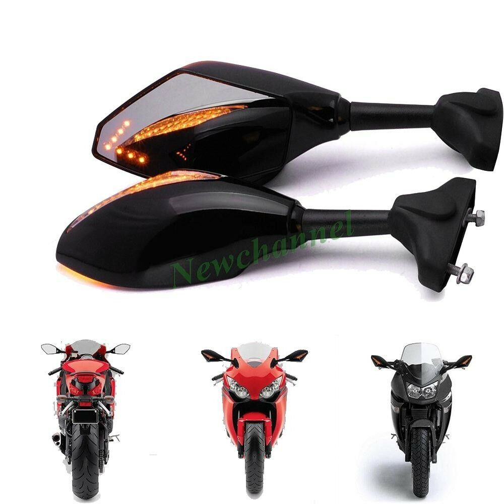 Black Motorcycle Fairing Mount Led Turn Signal Side