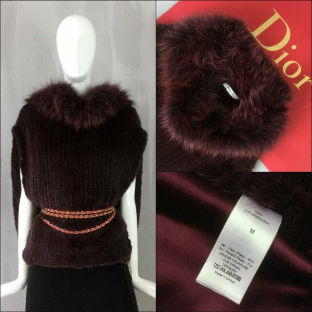 Neue seltene Christian Dior Damen Strick Nerz Fuchs Pelz Cape Jacke Mantel Gr. 38 S M