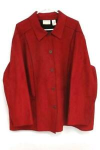 Alfred-Dunner-Red-Jacket-Button-Up-Polyester-Suede-Women-039-s-Size-24W