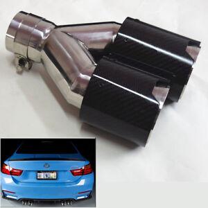 Carbon-Fiber-Links-Kfz-Auspuffblende-Doppel-Rohr-Endrohr-M-Logo-63mm-Universal