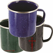 NEW DELUXE ENAMEL MUG Drinking Outdoor Cup Bushcraft Camping Green