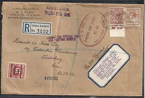 Great Britain 1934 Marginstamp R-DUEcover Sutton Coldfeld to Waterbury